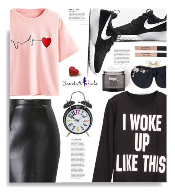 """Beautifulhalo.com: I woke up like this"" by hamaly ❤ liked on Polyvore featuring NIKE, Holistic Silk, philosophy, Three Hands, Anja, vintage, women's clothing, women, female and woman"