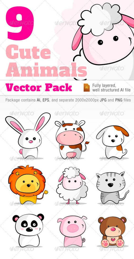 9 Cute Animals Vector Pack  #GraphicRiver         A collection of 9 cute animals in vector format.  	 List of animals characters included in the package: Cat, Dog, Rabbit, Sheep, Cow, Pig, Panda, Bear and Lion