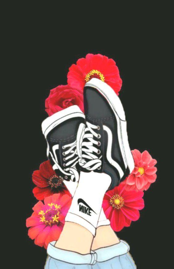 Flower Vans Sneakers Nike Pink Rose Black Aesthetic Flower Gardenia Black Aesthetic Tumblr Flower Rose Vans
