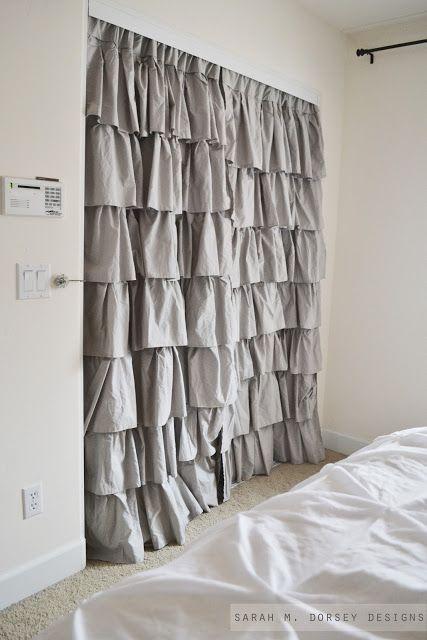 Drapery Panels for Closet Doors. genius... hang from inside ...