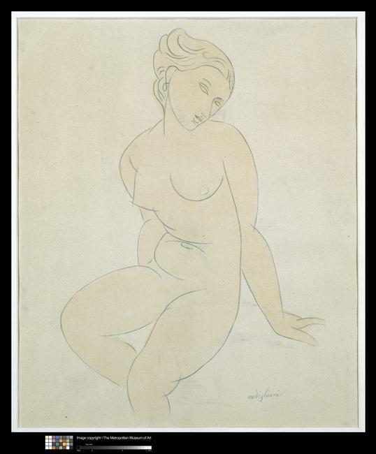 Modigliani, Nu féminin assis. Crayon graphite, lavis d'aquarelle. Réunion des Musées Nationaux-Grand Palais -