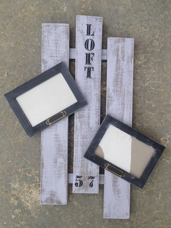 Porte cadres photos en bois de palette personnalisable - Cadre de porte en bois ...