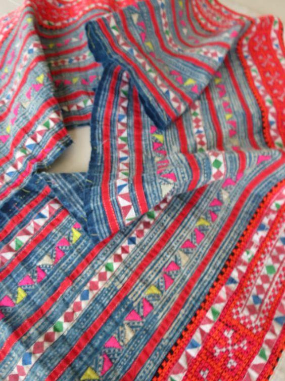 Cáñamo de Hmong tejidas a mano y algodón Vintage tela por dellshop