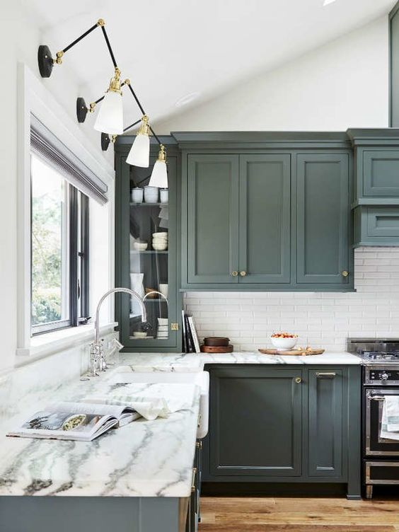 Fresh Kitchen Cabinet Colors: Pewter Green from Sherwin-Williams