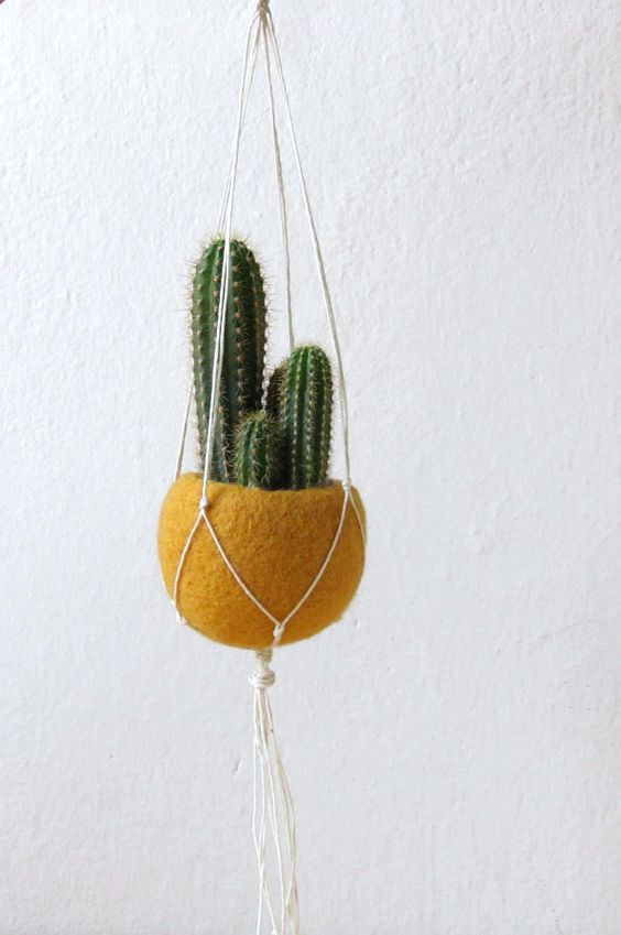 Hanging planter / Mustard yellow  Felt planter / Macrame hanging pod / minimalist home decor / cactus vase / CHOOSE YOUR COLOR