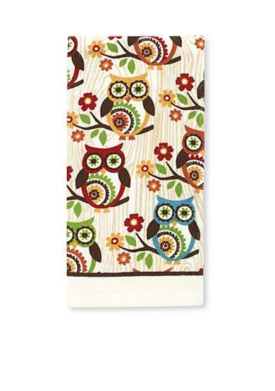 John Ritzenthaler Company� Medallion Owls on Branches Print Kitchen Towel