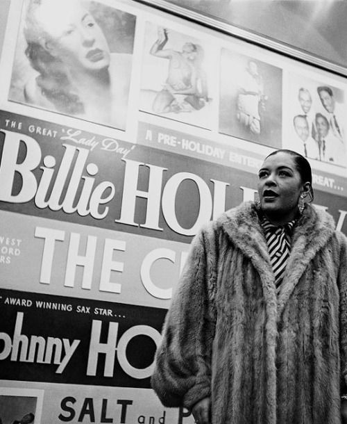 hennyproud:  Billie Holiday arriving backstage at the Apollo Theater in Harlem, New York, c. 1952