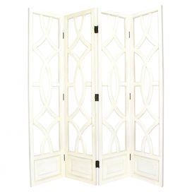 "Add a chic touch of style to your home with this eye-catching design, artfully crafted for lasting appeal.     Product: Room divider Construction Material: Wood   Color: White    Features:     Simple, decorative art with a vintage feel  Hand-painted        Dimensions: 76"" H x 72"" W x 1"" D (overall)"