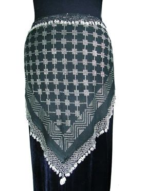 Assuit Scarf edged in coins.  The strong geometric pattern is striking.  Too bad she appears to be sold out!