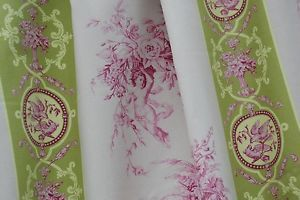 Toile de Jouy Stoff grün rosa Meterware 100% Baumwolle,Vorhangstoff 280cm breit