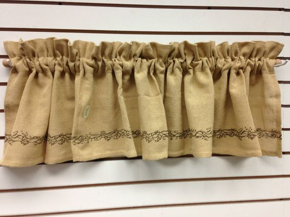Primitive Country Burlap Berry Vine Valance From The Country House ...