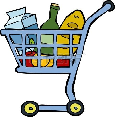 Shopping cart on a white background illustration. Ilustración de un carro de mercado, con los productos. Fondo blanco.