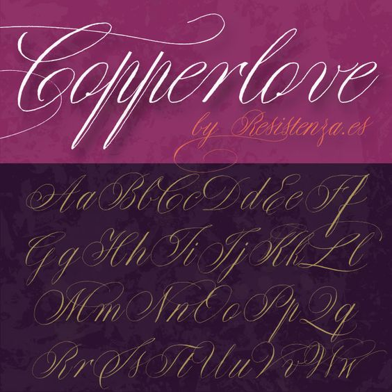 Copperlove is a beautiful Copperplate calligraphy font based on the work of Giuseppe Salerno. It features many alternate characters and swashes which give it real versatility. http://www.fontspring.com/fonts/resistenza/copperlove