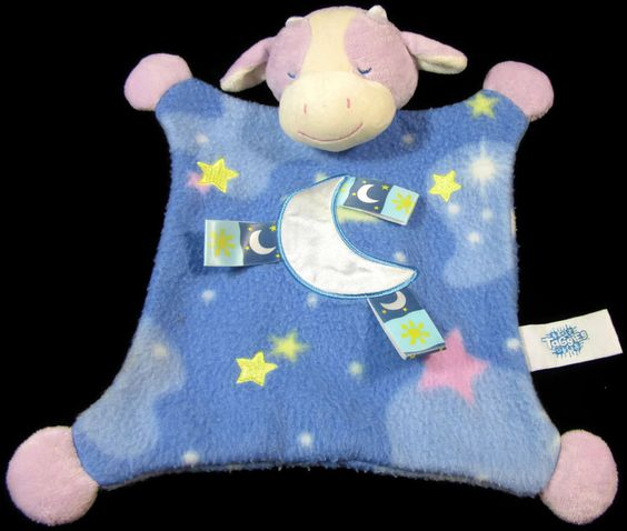 """Taggies Blue Purple Cow Moon Starts Security Blanket Baby Mary Meyer Lovey 12""""  #Taggies"""