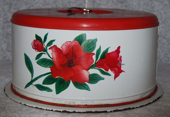 Vintage Cake Saver Carrier - Red Roses