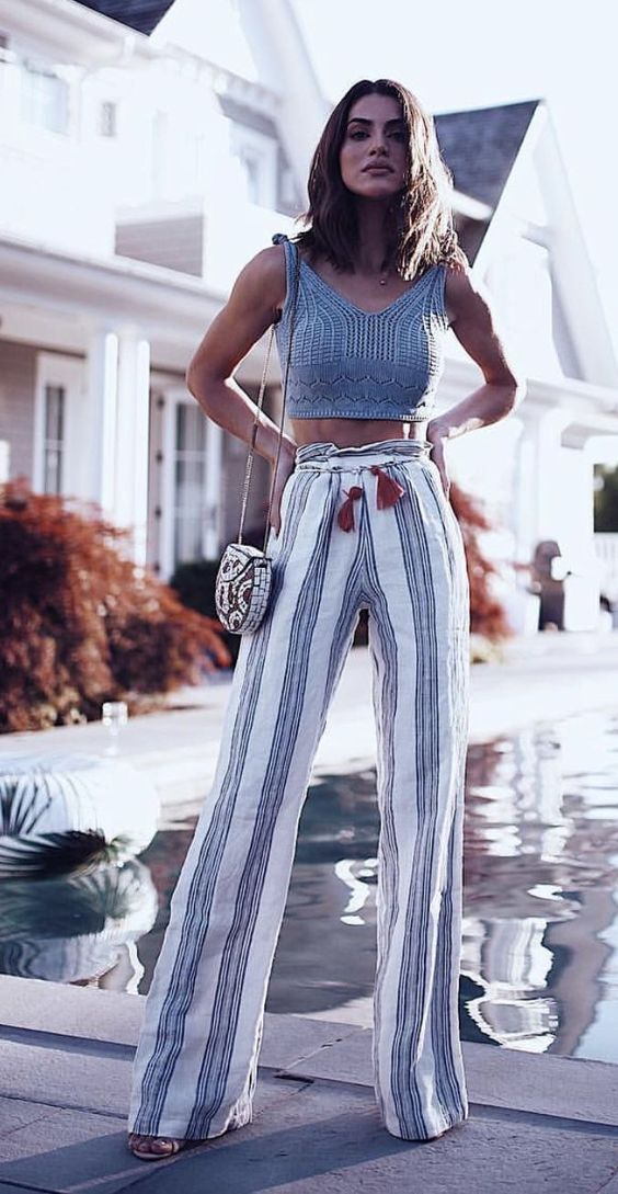 #Summer #Outfits / Grey Knit Sleeveless Crop Top + Striped Palazzo Pants
