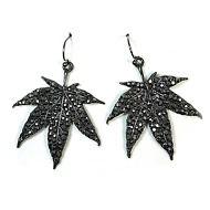 Gray Gunmetal Weed Leaf Crystal Rhinestone Woman Fashion Jewelry Dangle Earring