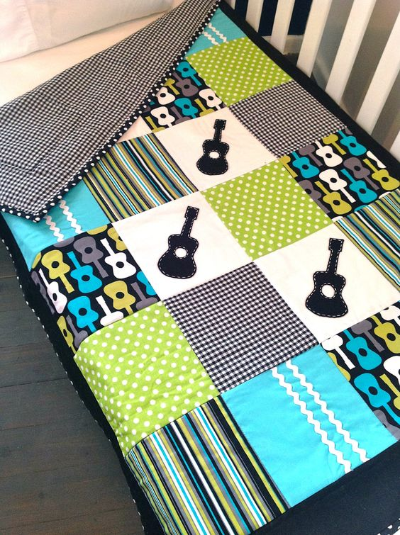 GUITAR Baby Boy CRIB QUILT -- so cute!!   Cozy up with ...