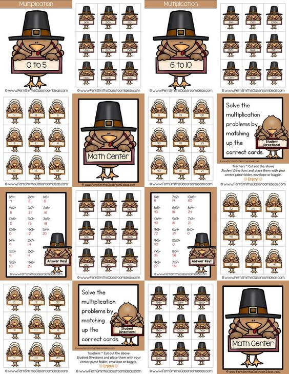 Quick and Easy to Prep Thanksgiving - Mixed Multiplication 0 to 10 Basic Facts Center Game This math resource includes ~ Two Center covers, math center signs, eight pages of playing cards, student directions and 2 self-checking answer keys. #TpT #Thanksgiving #FernSmithsClassroomIdeas {$paid}