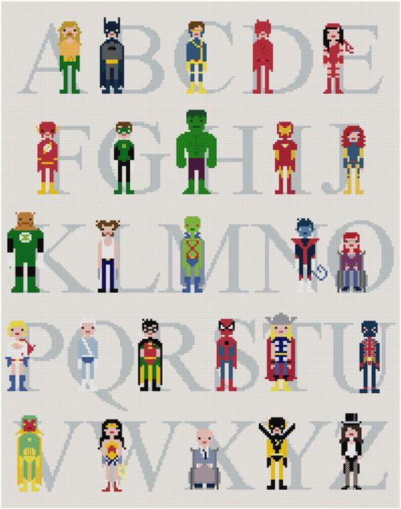 Superhero Alphabet Sampler @ weelittlestitches