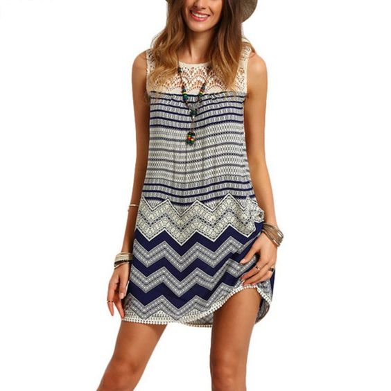 Women Clothes Sexy Print Lace Beach Dresses Women Wave Striped Multicolor Sleeveless O-neck Loose Tank Rayon Dress