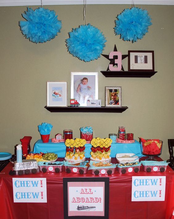 Railroad Train Themed Birthday Party for 3 year old boy http