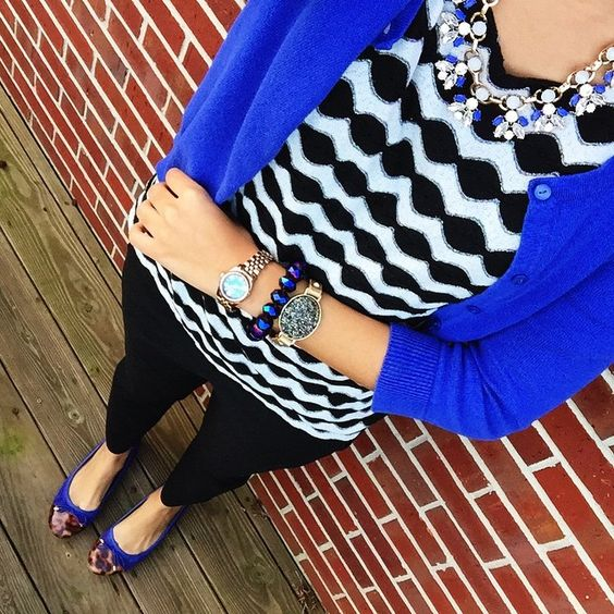 hm royal blue cardigan via thred up + dress barn chevron blouse + ny and co black pants + clarks cobalt flats + perry street necklace c/o rocksbox (try a free month with code: whatnicoleworexoxo) + versona druzy cuff {wear to work}:
