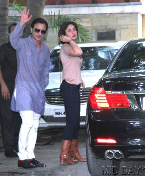 Saif Ali Khan & Kareena Kapoor looks on Christmas lunch at Shashi Kapoor's home.