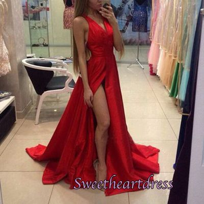 2016 simple v-neck red chiffon prom dress with slit, prom dresses long #coniefox