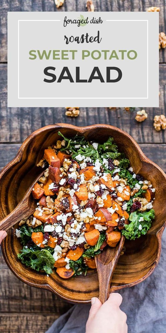 Roasted Sweet Potato Salad with Cranberries, Walnuts, and Goat Cheese
