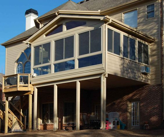 1st floor sunroom to deck over walkout basement my Walkout basement deck designs