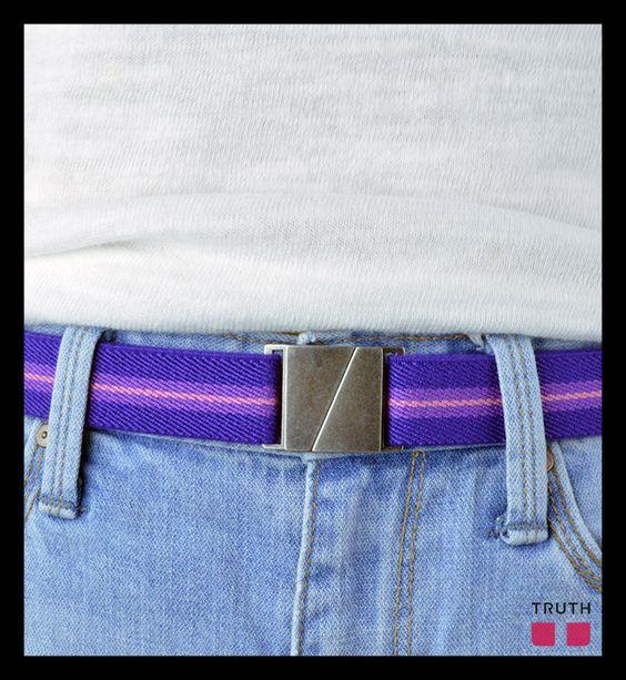 The Karma belt will soon be available in purple stripe. $28.00 www.truthbelts.com