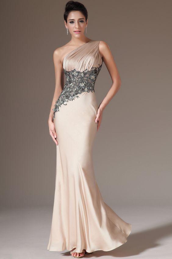 USD 126.73] eDressit Champagne One-Shoulder Sheath Evening Dress ...