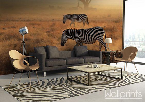 living afrika zebra zelfklevend fotobehang