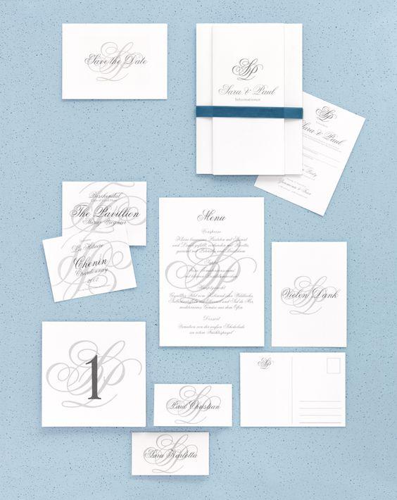 Monogramm - Papeterie, Hochzeitspapeterie, Karten, Einladung, Kirchenheft, Danksagung, Save-the-Date, Menü, Programmheft, Hochzeitszeremonie