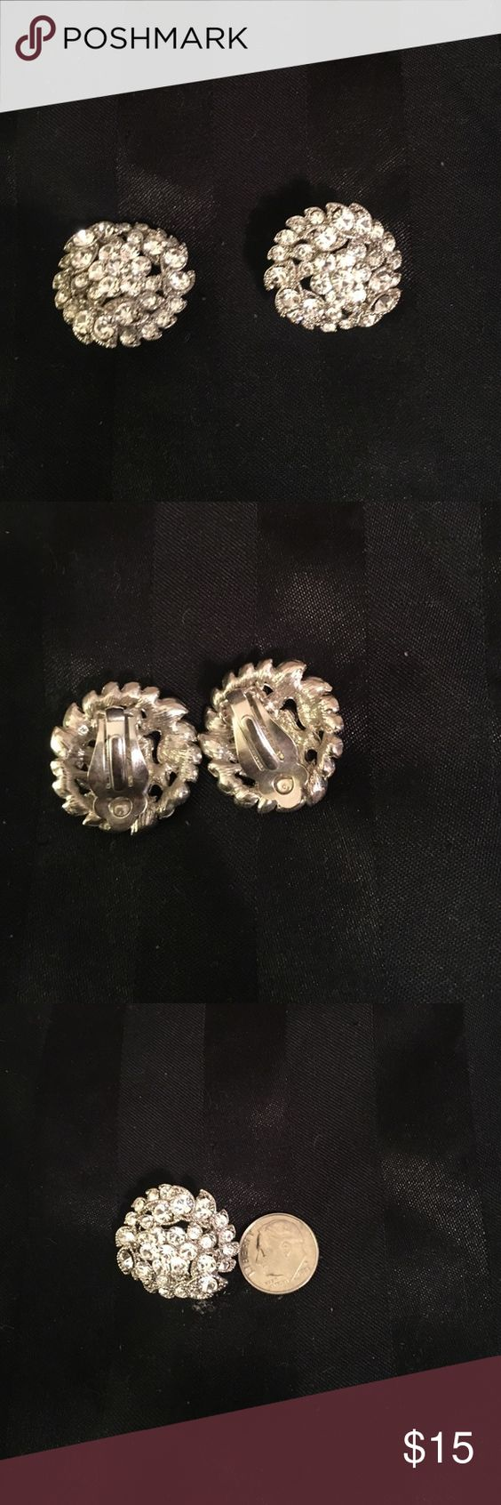 Rhinestone Costume Earrings  These Are Clip On