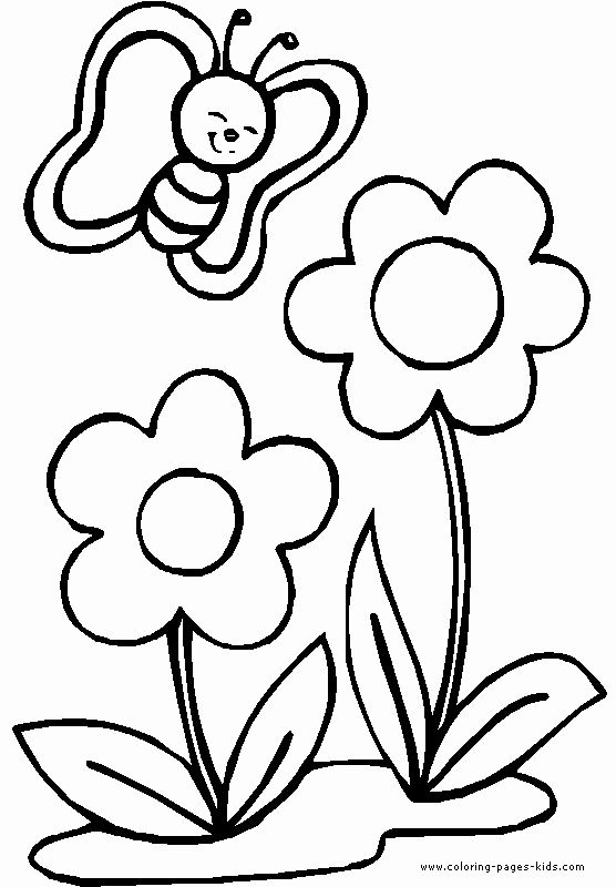 Coloring Flowers For Kids Unique Butterfly With Two Flowers Color Page Flower Coloring Pages Cute Coloring Pages Butterfly Coloring Page