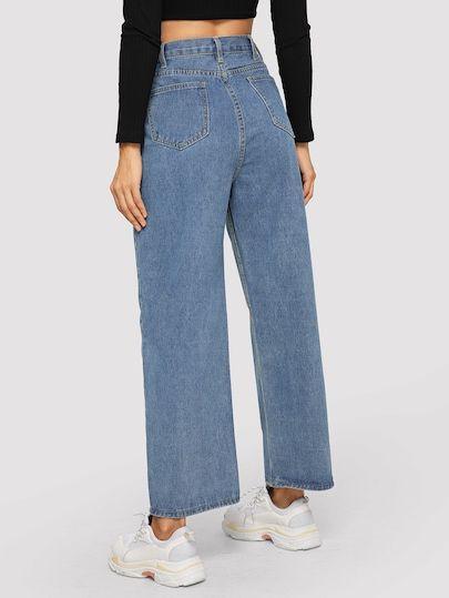 Vaqueros Anchos Con Boton Jeans De Moda Pantalones Jeans Para Mujer Pantalones De Moda