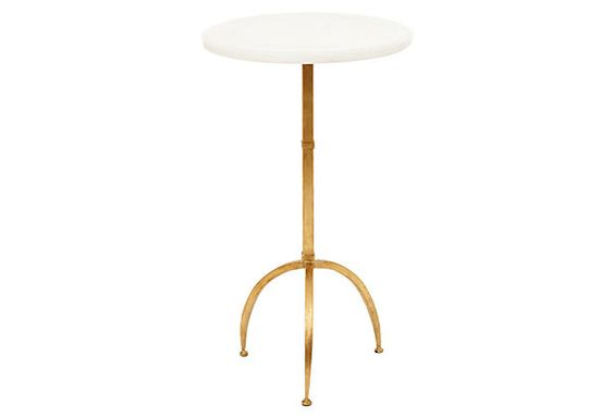 One Kings Lane - Naturally Glam - Sophie Accent Table, White/Gold