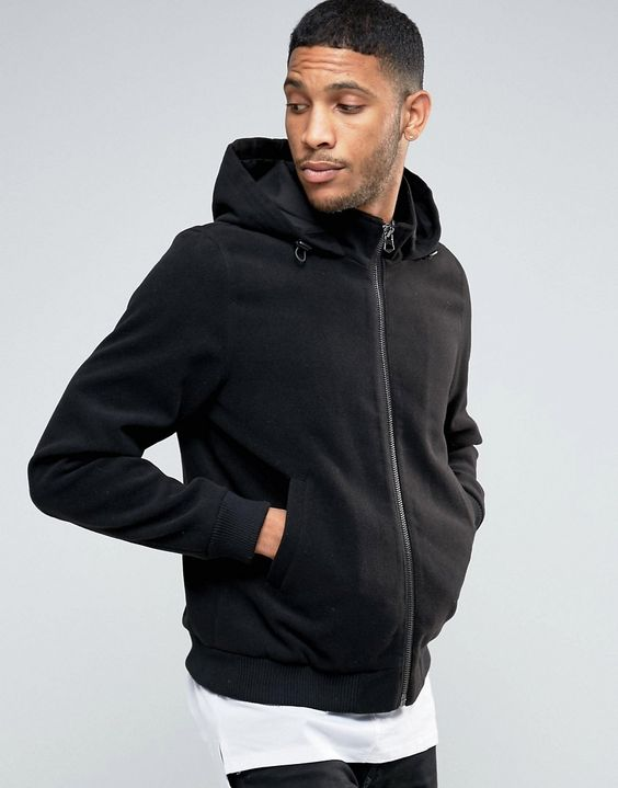 ASOS Hooded Bomber Jacket In Soft Handle In Black