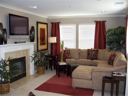 Red Curtains beige red curtains : living rooms - living room, window coverings, sectional, Living ...