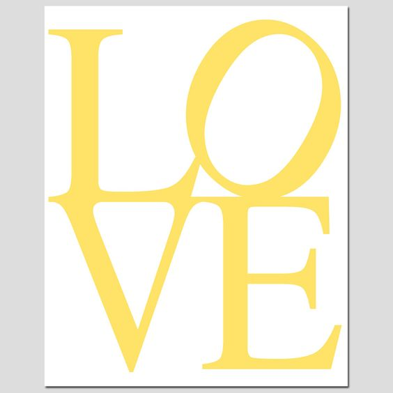 SALE - LOVE - 8 x 10 Art Print in Yellow and White - Modern Nursery Decor. $10.00, via Etsy.: