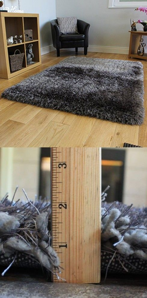 Dark Gray Charcoal Shaggy Shag Area Rug 8x10 High End Designer