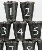 Set of 9 Numbered  Wood Pots   (1-9) $23