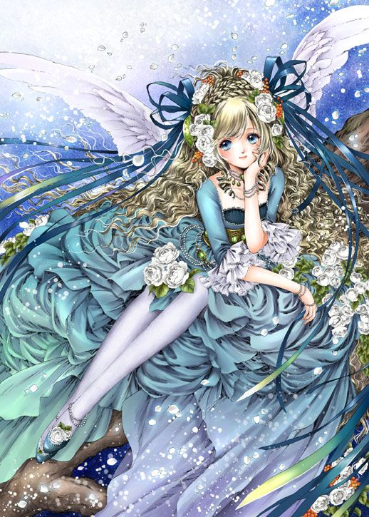 Light blue angel with long curly blond hair, blue eyes, white feather wings, & teal blue Rococo dress by manga artist Shiitake.