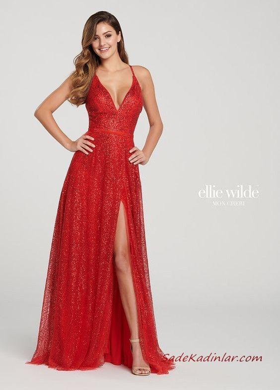 2019 Ellie Wilde Uzun Abiye Modelleri Kirmizi Ip Askili Derin V Yakali Yirtmacli Pullu Goruntuler Ile The Dress Balo Elbiseleri Mezuniyet Balosu Elbiseleri