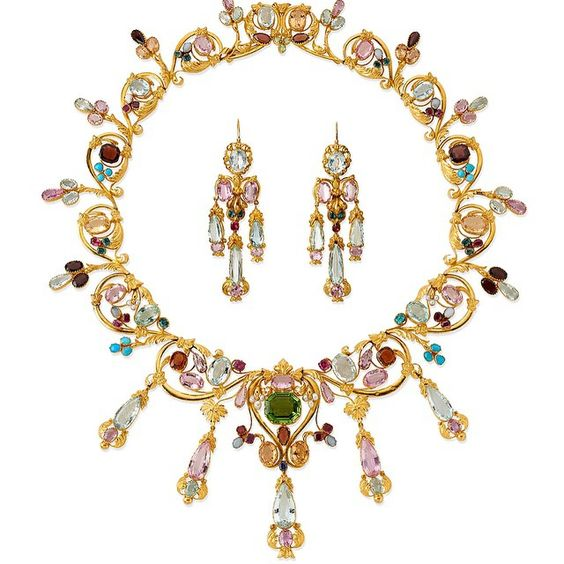 Spring is here - an antique gold and gem-set necklace with matching earrings, c1850. The wonderful variety of coloured gemstones brings to mind a meadow of Spring flowers.