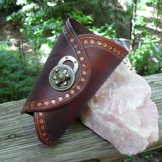 Steampunk Leather Bracer With Turn Lock Clasp - Vambrace Gauntlet (ARM 123). $50.00, via Etsy.