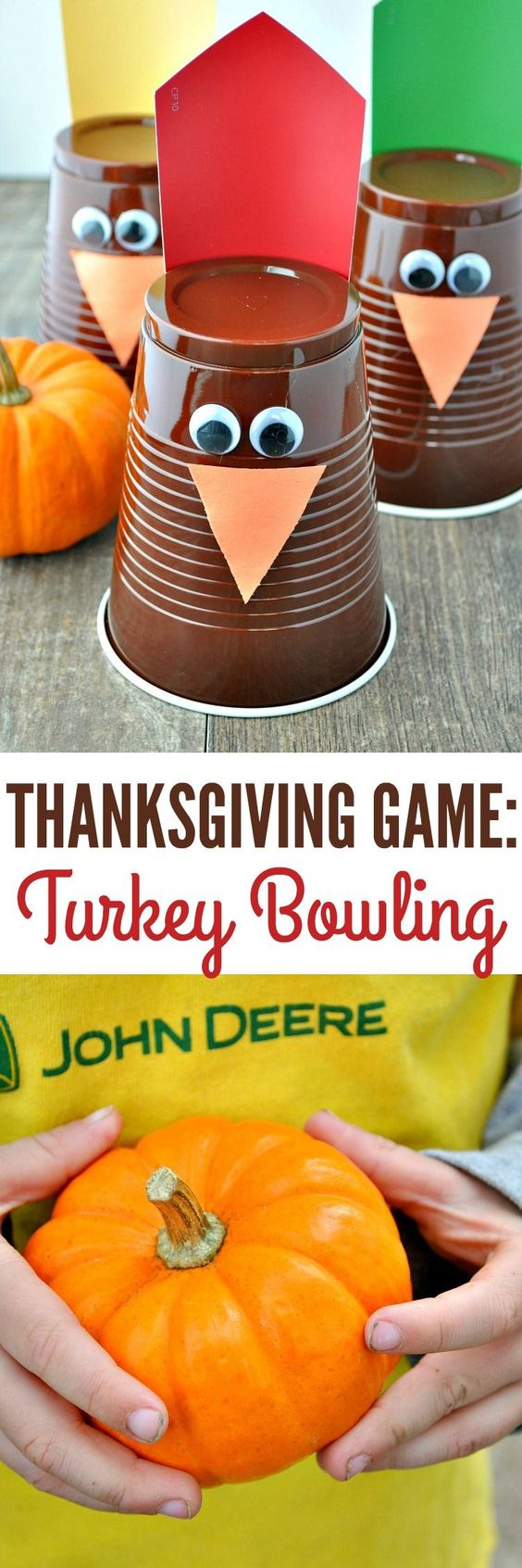 Entertain the kids while you're in the kitchen with a fun and easy Thanksgiving Game: Turkey Bowling!:
