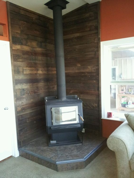 Pallet Wall Behind Wood Stove Fun To Diy Pinterest
